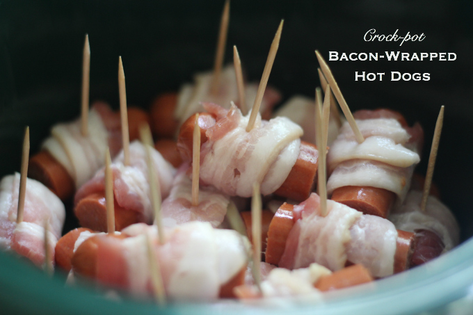Crock-pot Bacon-Wrapped Hot Dogs