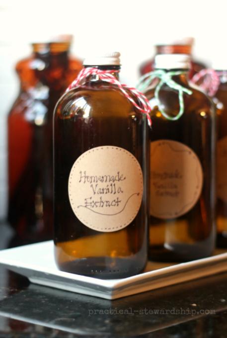 Homemade Vanilla Extract Bottles