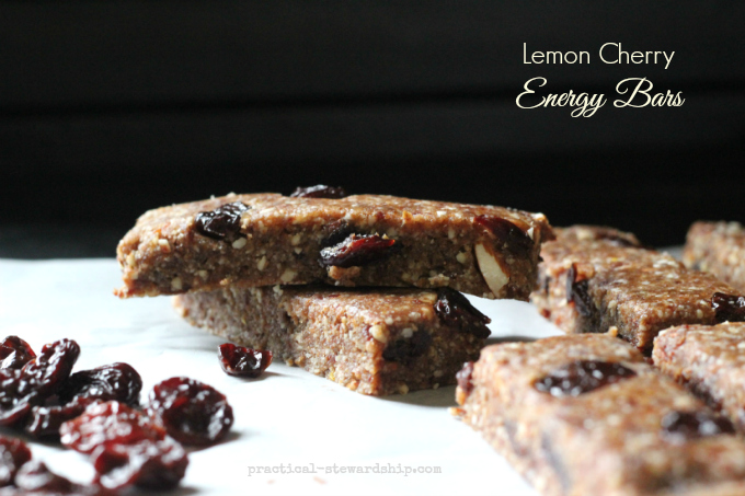 Lemon Cherry Energy Bars | practical-stewardship.com