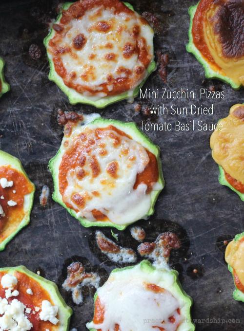 Grain-free Zucchini Pizzas with Sun Dried Tomato Basil Sauce