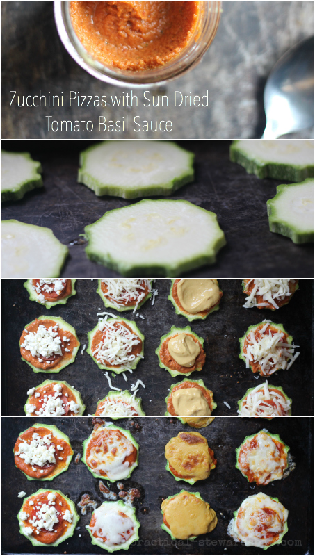 Zucchini Pizzas and Sun Dried Tomato Basil Sauce Collage
