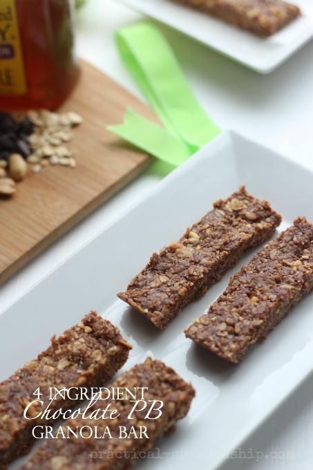 4 Ingredient No Bake Chocolate Peanut Butter Granola Bar