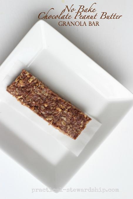 No Bake Chocolate Peanut Butter Granola Bar