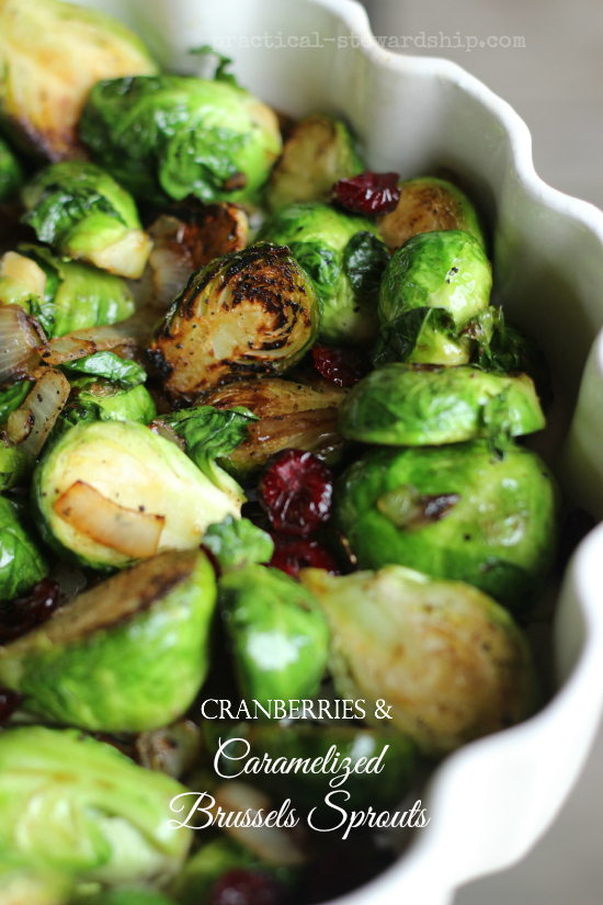 Caramelized Onions and Brussels Sprouts with Cranberries