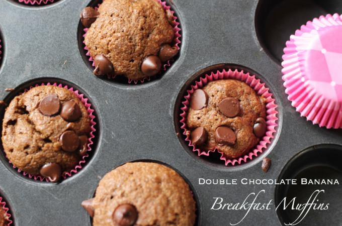 Double Chocolate Banana Breakfast Muffins, DF