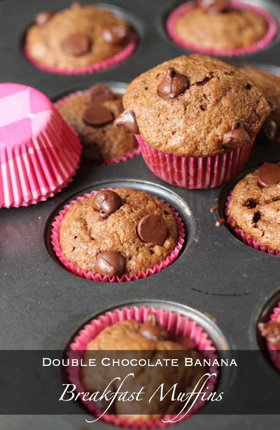 Double Chocolate Banana Breakfast Muffins Recipe Above
