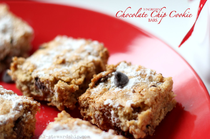 3 Ingredient Chocolate Chip Cookie Bars