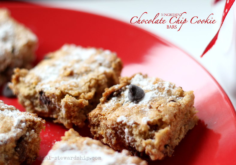Three Ingredient Chocolate Chip Cookie Bars