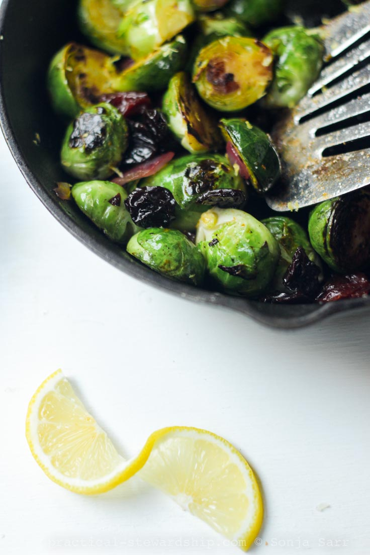 Caramelized Brussels Sprouts with Lemon and Cherries-2
